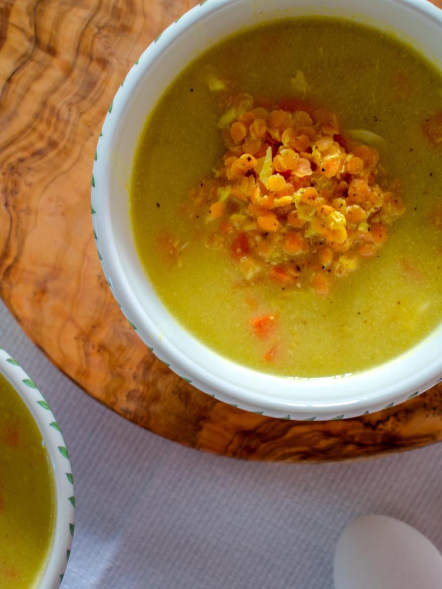 Lentil Egg Drop Soup